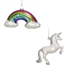 Set Of 2 Assorted Unicorn And Rainbow Christmas Tree Baubles