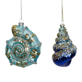 Set Of 2 Assorted Sea Shell Christmas Tree Baubles