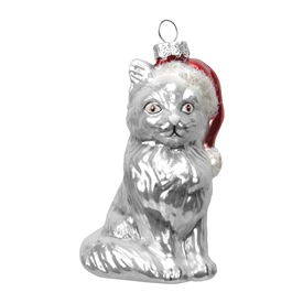 Silver Cat Wearing Santa Hat Christmas Tree Bauble