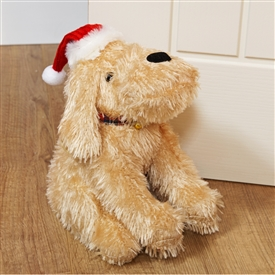 Plush Blonde Dog Doorstop Wearing Santa Hat