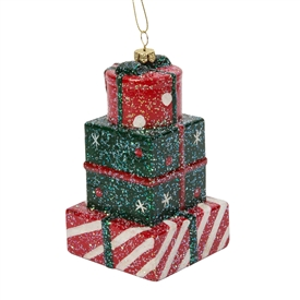 Colourful Electroplated Present Stack Tree Decoration
