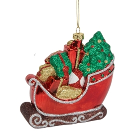 Colourful Shatterproof Santa Sleigh Tree Decoration
