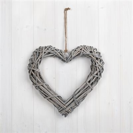 Whitewashed Willow Heart Decoration 30cm