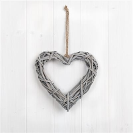 Whitewashed Willow Heart Decoration 20cm