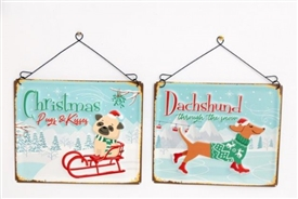 Festive Dog Plaque 2 Assorted 26cm