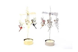 Christmas Fairy Rotary T Light Candle Holder 13cm 2 Assorted Colours
