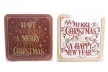 FLASH SALE Set Of 4 Christmas Coasters 2 Assorted