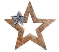 Wood And Metal Star Decoration 15cm