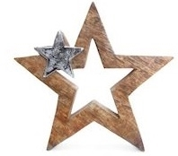 Wood And Metal Star Decoration 20cm