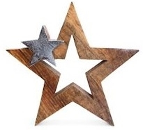 Wood And Metal Star Decoration 25cm