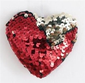 Red And Silver Sequin Heart Decoration 9cm