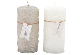 Large Festive Pillar Candle 2 Assorted 14cm