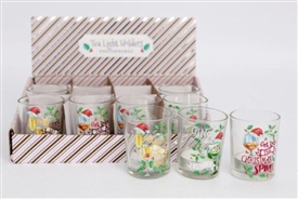 Festive Drink Design Tealight Holder 3 Assorted 6cm