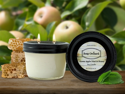 Green Apple Mint & Honey Double Wick Soy Candle