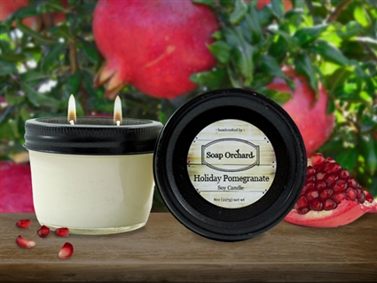 Holiday Pomegranate Double Wick Soy Candle