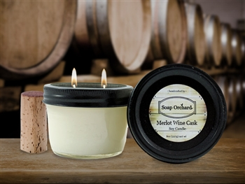 Merlot Wine Cask Double Wick Soy Candle - Retiring