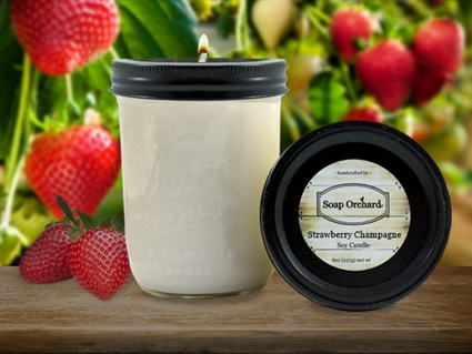 Strawberry Champagne 16oz Jar Soy Candle