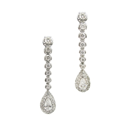 Pear and Round Diamond Dangle Earrings in 18K White Gold