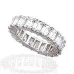 EMERALD CUT DIAMOND ETERNITY BAND HANDMADE IN PLATINUM
