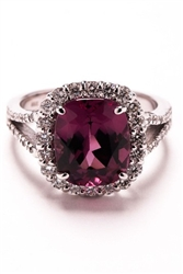 CUSHION GARNET AND ROUND DIAMOND RING IN 18K WHITE GOLD