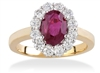 OVAL RUBY AND ROUND DIAMOND RING 18K IN YELLOW GOLD