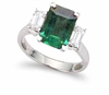Emerald Cut Emerald and Diamond Ring in 18K White Gold