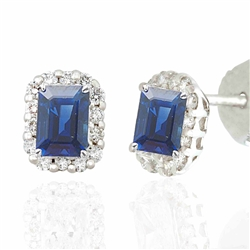 Emerald Cut Sapphire and Round Diamond Earrings