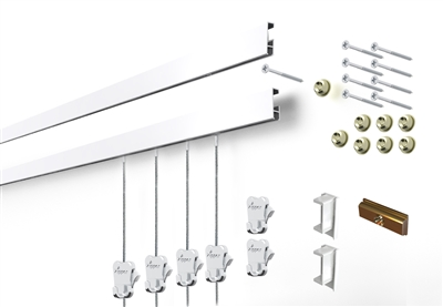 Cliprail Complete Art Hanging Gallery System Kit with 2 rails, 4 steel cables and 6 hooks