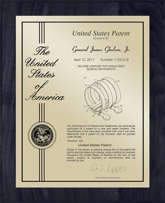 "Patent Plaques Custom Wall Hanging Contemporary Patent Plaque - 10.5"" x 13"" Gold and Black."