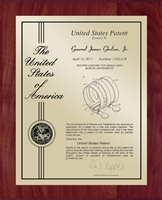 "Patent Plaques Custom Wall Hanging Contemporary Patent Plaque - 10.5"" x 13"" Gold and Cherry."