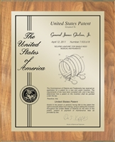 "Patent Plaques Custom Wall Hanging Contemporary Patent Plaque - 10.5"" x 13"" Gold and Oak."