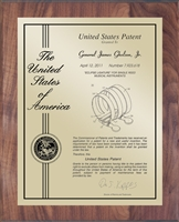 "Patent Plaques Custom Wall Hanging Contemporary Patent Plaque - 10.5"" x 13"" Gold and Walnut."