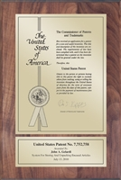 "Patent Plaques Custom Wall Hanging Contemporary Patent Plaque - 8"" x 12"" Gold and Walnut."