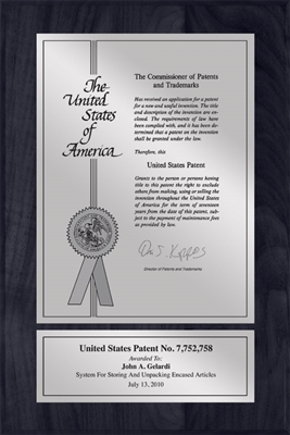 "Patent Plaques Custom Wall Hanging Contemporary Patent Plaque - 8"" x 12"" Silver and Black."