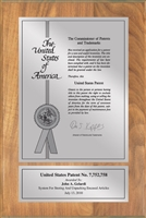 "Patent Plaques Custom Wall Hanging Contemporary Patent Plaque - 8"" x 12"" Silver and Oak."
