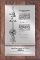 "Patent Plaques Custom Wall Hanging Contemporary Patent Plaque - 8"" x 12"" Silver and Walnut."