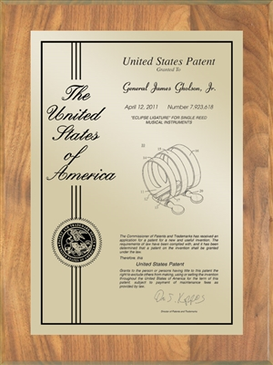 "Patent Plaques Custom Wall Hanging Contemporary Patent Plaque - 9"" x 12"" Gold and Oak."