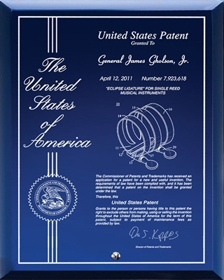 "Contemporary Desktop Blue Glass Engraved Patent Plaque - 8"" x 10"" Laser Engraved / Blue Glass Plaque"