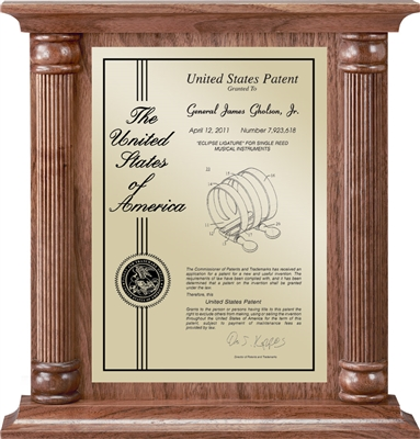 "Patent Plaques Custom Wall Hanging Contemporary Column Patent Plaque - 12"" x 12.5"" Gold and Walnut."