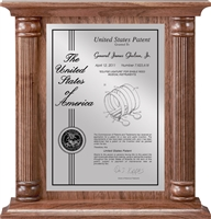 "Patent Plaques Custom Wall Hanging Contemporary Column Patent Plaque - 12"" x 12.5"" Silver and Walnut."