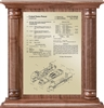 "Patent Plaques Custom Wall Hanging Traditional Column Patent Plaque - 12"" x 12.5"" Gold and Walnut."