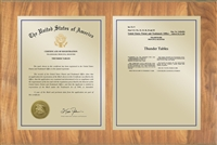 "Patent Plaques Custom Wall Hanging Traditional Trademark Plaque - 21"" x 14"" Gold and Oak."