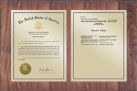 "Patent Plaques Custom Wall Hanging Traditional Trademark Plaque - 21"" x 14"" Gold and Walnut."