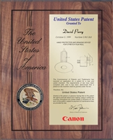 "Patent Plaques Custom Wall Hanging Laser-Engraved Medallion Patent Plaque - 10.5"" x 13"" Gold and Walnut."