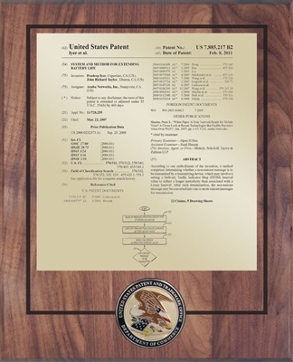 "Patent Plaques Custom Wall Hanging Medallion Patent Plaque - 10.5"" x 13"" Gold and Walnut."