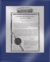 "Patent Plaques Custom Wall Hanging Ultramodern PVP Plaque - 10.5"" x 13"" Silver and Blue Acrylic."