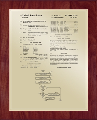 "Patent Plaques Custom Wall Hanging Traditional Patent Plaque - 10.5"" x 13"" Gold and Cherry."