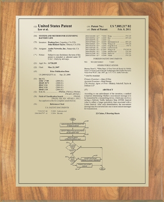 "Patent Plaques Custom Wall Hanging Traditional Patent Plaque - 10.5"" x 13"" Gold and Oak."