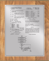 "Patent Plaques Custom Wall Hanging Traditional Patent Plaque - 10.5"" x 13"" Silver and Oak."