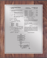 "Patent Plaques Custom Wall Hanging Traditional Patent Plaque - 10.5"" x 13"" Silver and Walnut."